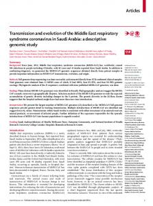 Transmission and evolution of the Middle East respiratory syndrome ...