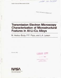 Transmission electron microscopy characterization of microstructural ...
