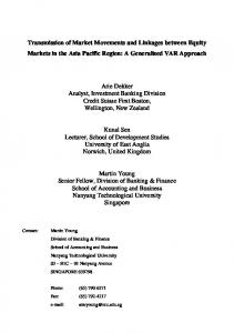 Transmission of Market Movements and Linkages ... - CiteSeerX