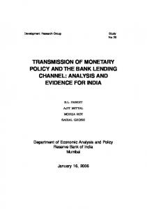 Transmission of Monetary Policy and the Bank Lending ... - CiteSeerX