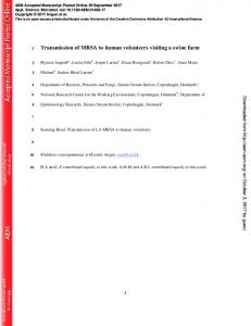 Transmission of MRSA to human volunteers visiting a swine farm