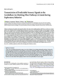 Transmission of Predictable Sensory Signals to the Cerebellum via ...