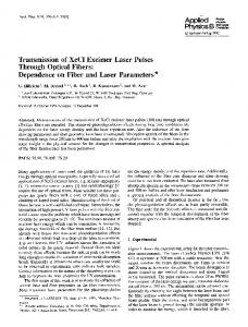 Transmission of XeCl excimer laser pulses through optical fibers ...