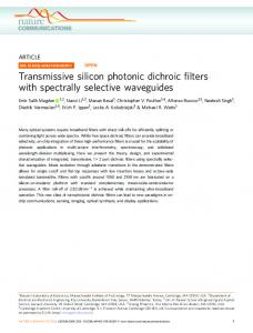Transmissive silicon photonic dichroic filters with ...