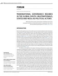 TRANSNATIONAL GOVERNANCE REGIMES IN THE ... - SciELO