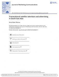 Transnational satellite television and advertising in ...