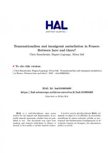 Transnationalism and immigrant assimilation in France: Between here ...