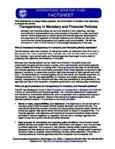 Transparency in Monetary and Financial Policies - IMF