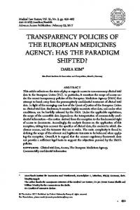transparency policies of the european medicines agency