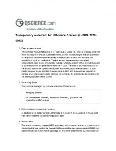 Transparency statement for: QScience Connect (e ...
