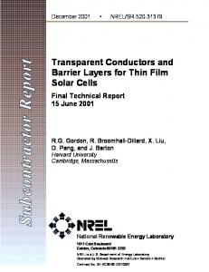 Transparent Conductors and Barrier Layers for Thin Film Solar ... - NREL