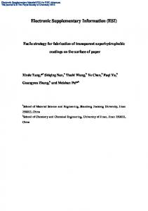 Transparent Superhydrophobic Silica-Based Coatings for Paper Self ...