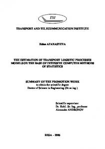 transport and communications institute - arXiv