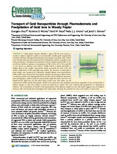 Transport of Gold Nanoparticles through Plasmodesmata and ...