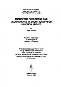 Transport phenomena and decoherence in short ...