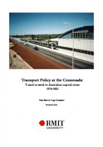Transport Policy at the Crossroads - RMIT University