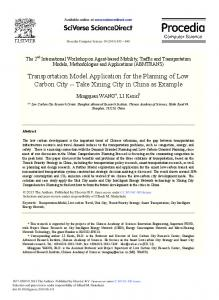 Transportation Model Application for the Planning of Low Carbon City ...