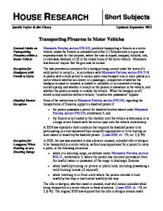 Transporting Firearms in Motor Vehicles