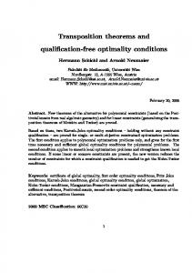 Transposition theorems and qualification-free optimality conditions