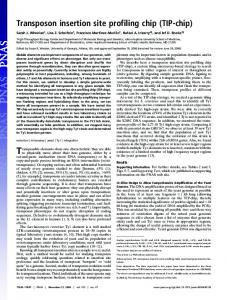 Transposon insertion site profiling chip (TIP-chip) - Proceedings of the ...