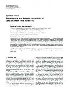 Transthyretin and Amyloid in the Islets of Langerhans in Type-2 Diabetes
