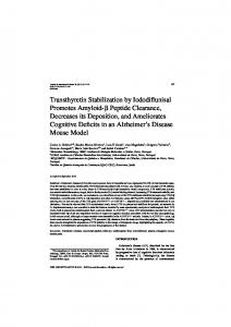 Transthyretin Stabilization by Iododiflunisal Promotes ... - IOS Press