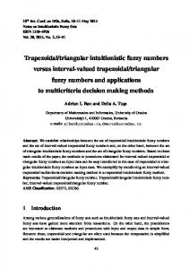 Trapezoidal/triangular intuitionistic fuzzy numbers ... - Semantic Scholar