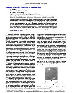 Trapped torsional vibrations in elastic plates - Department of ...
