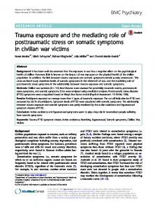 Trauma exposure and the mediating role of ... - BMC Psychiatry