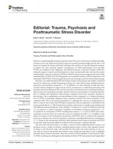 Trauma, Psychosis and Posttraumatic Stress ... - Semantic Scholar