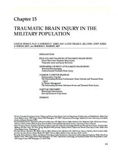Traumatic Brain Injury in the Military Population - Army Medical ...