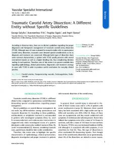 Traumatic Carotid Artery Dissection: A Different