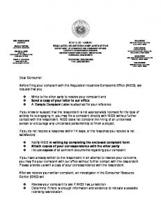 Travel Agency Complaint Form - Department of Commerce and ...