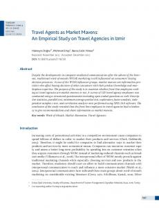 Travel Agents as Market Mavens: An Empirical Study on Travel ...