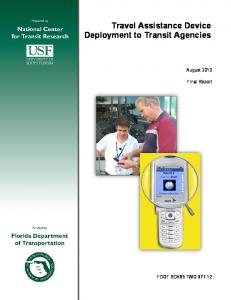 Travel Assistance Device Deployment to Transit Agencies