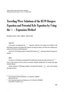 Traveling Wave Solutions of the RLW-Burgers Equation ... - DergiPark