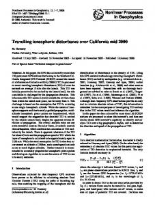 Travelling ionospheric disturbance over California ... - Semantic Scholar