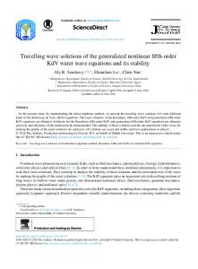Travelling wave solutions of the generalized nonlinear fifth-order KdV ...