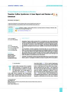Treacher Collins Syndrome: A Case Report and