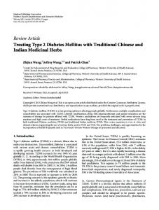 Treating Type 2 Diabetes Mellitus with Traditional Chinese and Indian ...