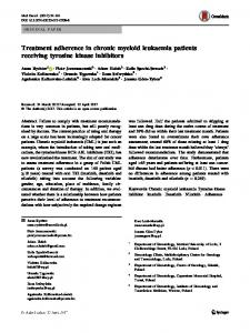 Treatment adherence in chronic myeloid leukaemia ... - Springer Link