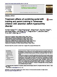 Treatment effects of combining social skill training and parent training ...