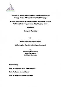 Treatment of Ammonia and Phosphate from Water ...