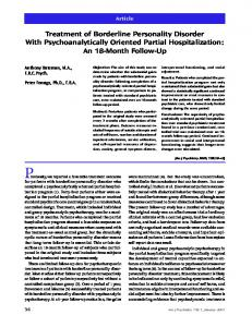 Treatment of Borderline Personality Disorder With Psychoanalytically