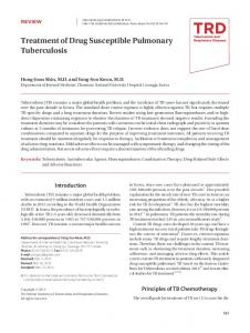 Treatment of Drug Susceptible Pulmonary Tuberculosis
