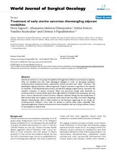 Treatment of early uterine sarcomas: disentangling adjuvant ...