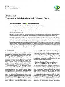 Treatment of Elderly Patients with Colorectal Cancer