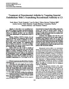 Treatment of experimental arthritis by targeting ... - Wiley Online Library
