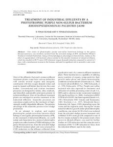 treatment of industrial effluents by a phototrophic ...
