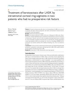 Treatment of keratoectasia after LAsIK by intrastromal corneal ring